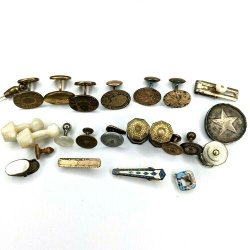 x23 LOT Cufflinks Clip Mother Pearl Vtg Jewelry Gold Isaacs Kahn Antique Junk E2