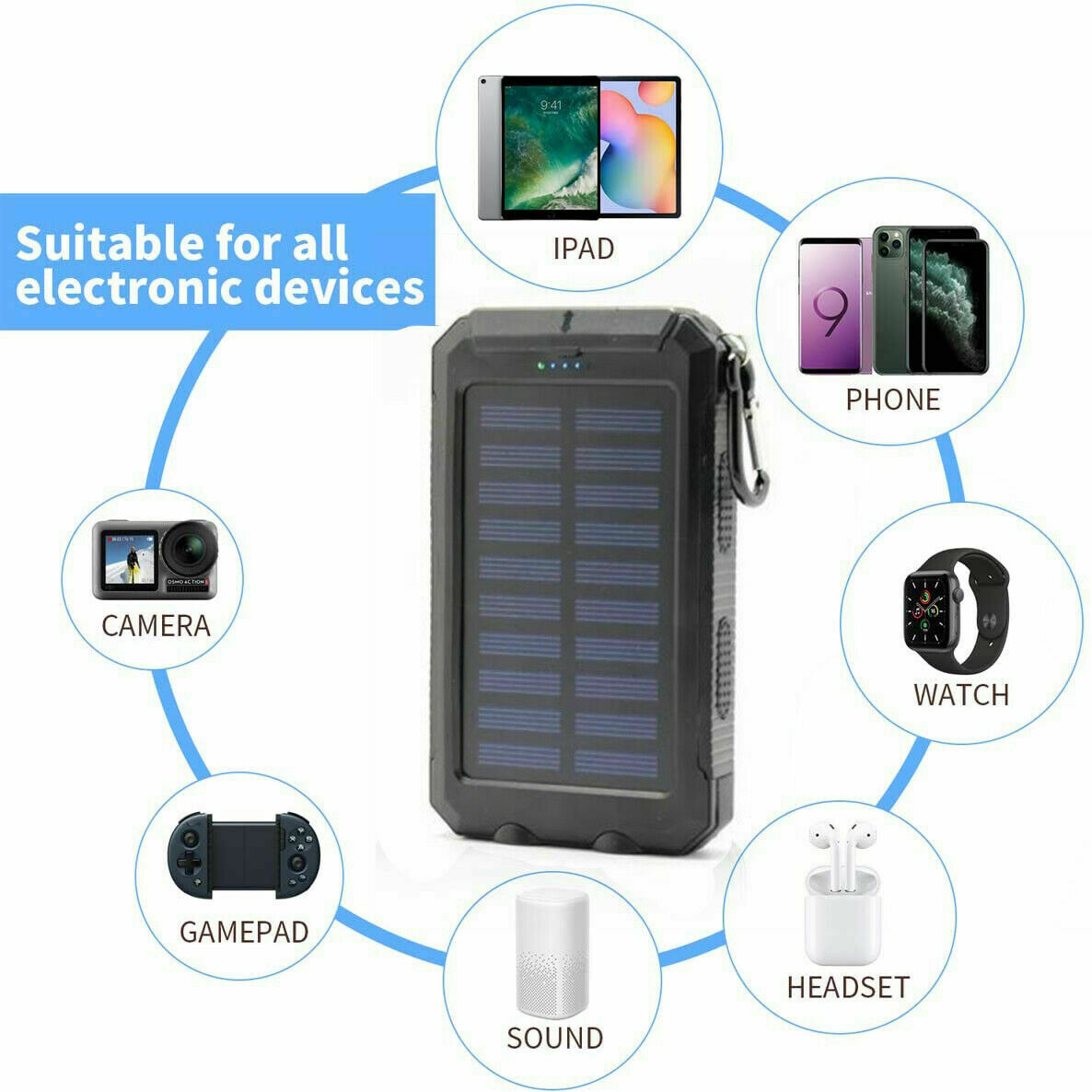 2000000mAh LED Dual USB Portable Charger Solar Power Bank For Cell Phone Android Cell Phone Accessories
