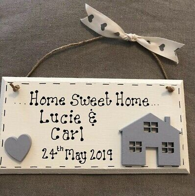 Home Sweet Home plaque sign Personalised New Home Gift House warming Gift