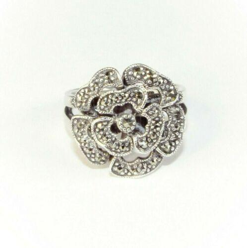 Art Deco style vintage solid silver marcasite gemstone flower ring size K 1/2