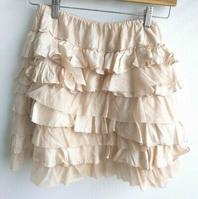 Ralph Lauren Rugby Silk Ruffle Mini Skirt Champagne XS  Feminine -