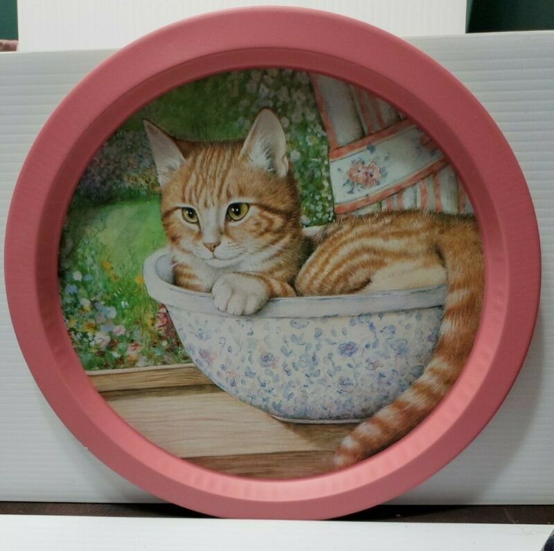 Vintage ? Cat Kitten Animal serving tray.....cat in bowl awesome picture
