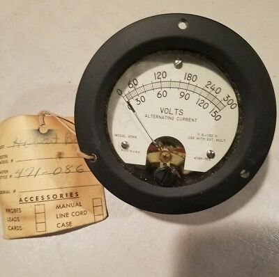 Panel Meter Model 47mr Hickok Electric Instrument Co. 0-300 0-150. 4188-752