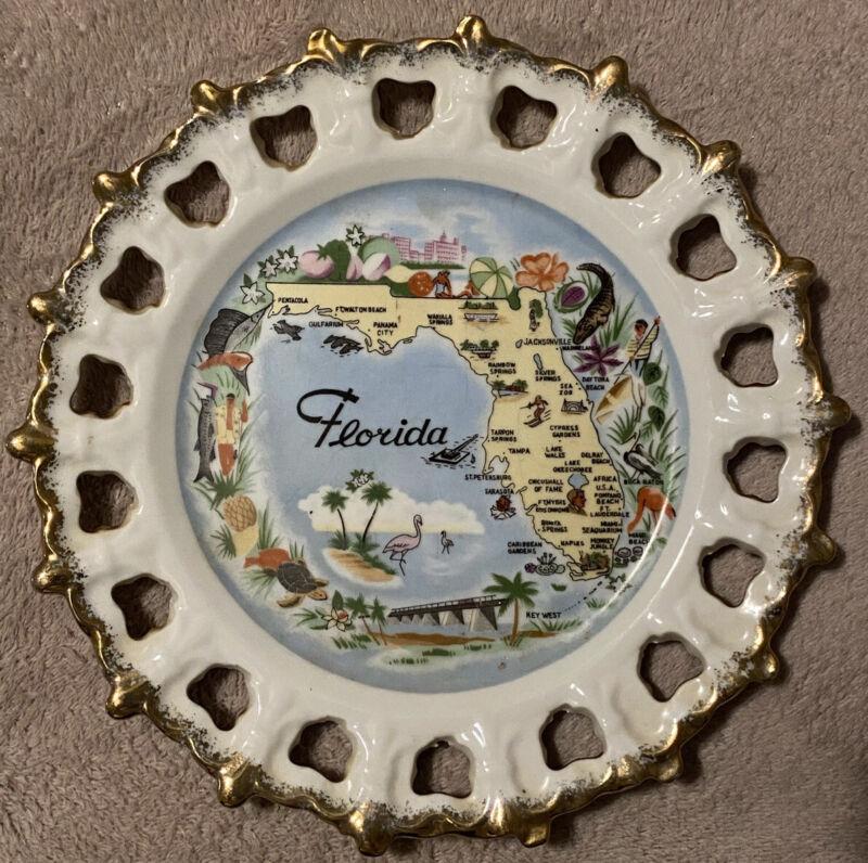 Vintage Florida Souvenir Porcelain Plate w/ Gold Trimming