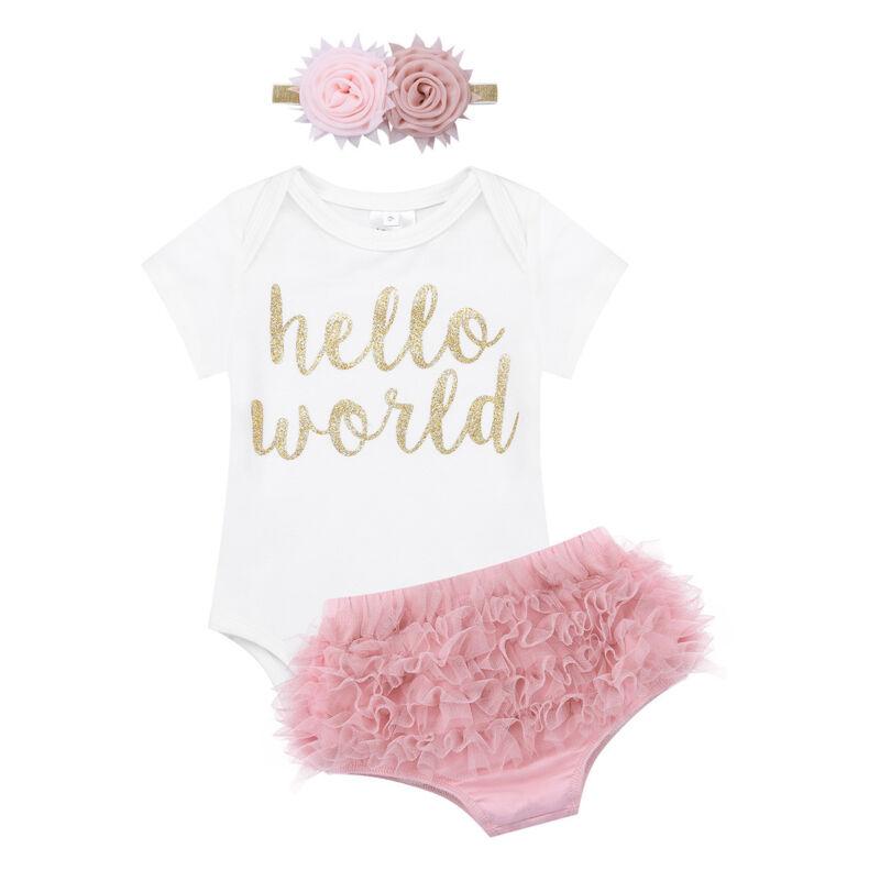 3Pcs//Set Newborn Baby Girls Short Sleeve Letters Bodysuit Romper Ruffle Shorts Dot Headband Clothes Outfits