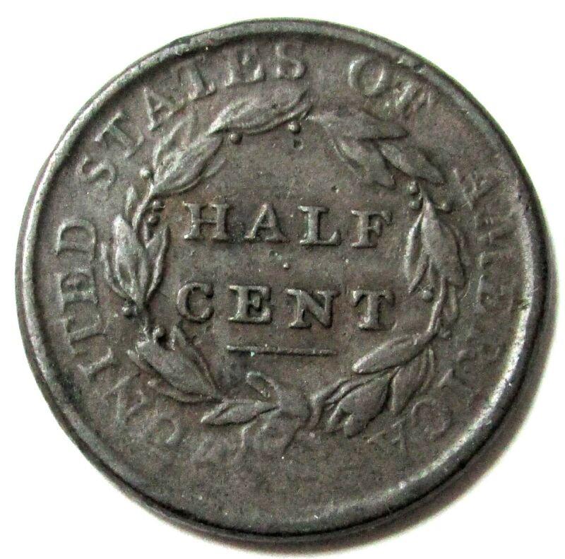 1809 UNITED STATES HALF CENT CLASSIC HEAD COIN VF