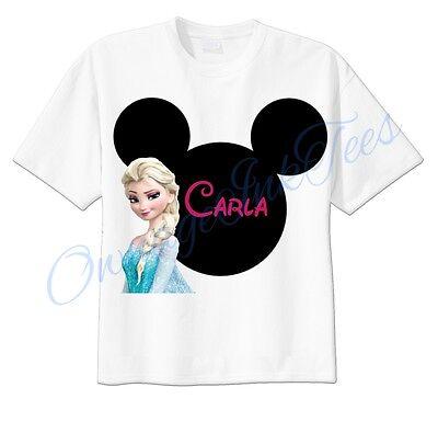 Elsa Frozen Mickey Ears Disney Custom T-shirt Personalize tshirt Birthday  (Personalized Mickey Ears)