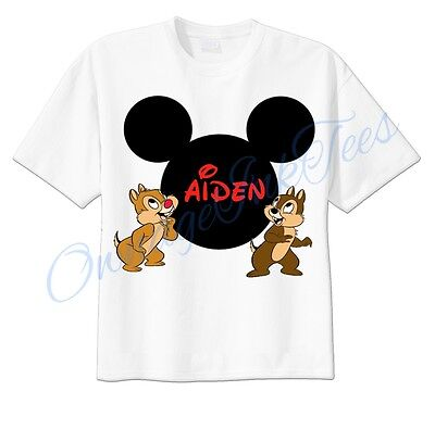 Chip and Dale Mickey Ears Disney Custom T-shirt Personalize tshirt Birthday  (Personalized Mickey Ears)