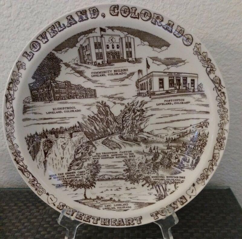 Vernon Kilns Souvenir Plate Loveland Colorado Sweetheart Town