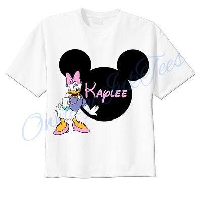 Daisy Duck Mickey Ears Disney Custom T-shirt Personalize tshirt Birthday gift  (Personalized Mickey Ears)