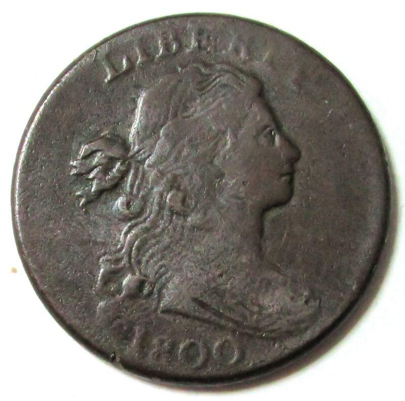 1800 UNITED STATES DRAPED BUST PLAIN EDGE LARGE CENT FINE CONDITION