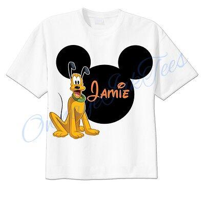 Pluto Mickey Ears Disney Custom T-shirt Personalize tshirt Birthday  (Personalized Mickey Ears)