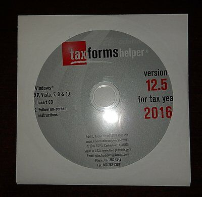 Adams Helper Cd Software Program 2016 For W2 W 2 1099 Misc Tax Forms Laser Irs