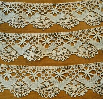 28 inches of handmade cluny bobbin lace edging wide scallop edge with a double flower motif antique lace trim