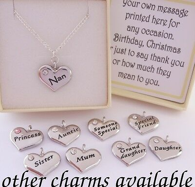 S.plated Family Charm Necklace, Chain,box,Mum,Nan,Sister,Birthday,xmas,girl,gift