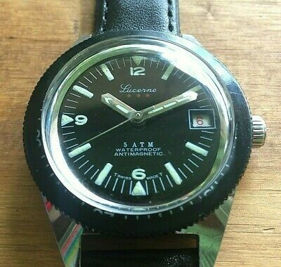 Lucerne Swiss Skin Diver Military Dive Men's Watch, Great vintage condition
