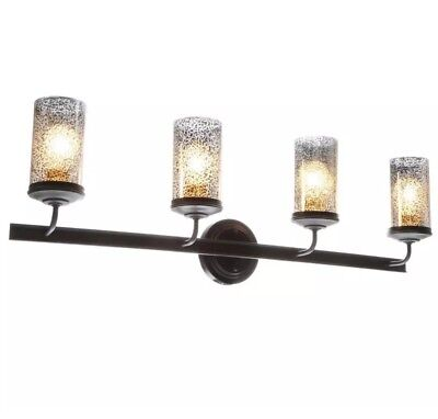 VANITY LIGHT 4-Light Autumn Bronze Wall Bath Vanity Light with Mercury Glass -
