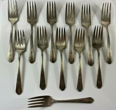 International Silver Rogers /& Bro Starlight 4 Salad Forks 6.75/""