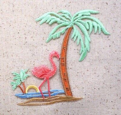 Pastel Pink Flamingo - Palm Tree - Beach - Iron On Applique/Embroidered Patch  ()