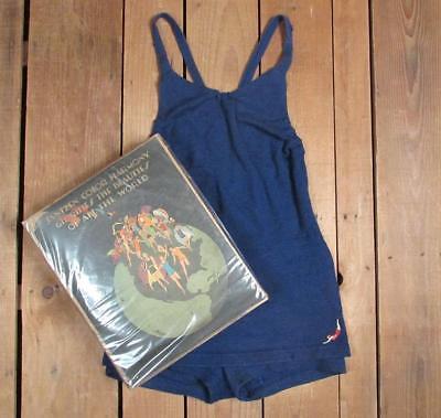 Vintage 1920er Jahre Jantzen Blau Wolle Badeanzug Original Verpackt Antik Strand