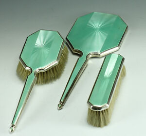 1935-3-pc-English-Guilloche-Enamel-on-Sterling-Silver-Vanity-Set-Mirror-Brushes