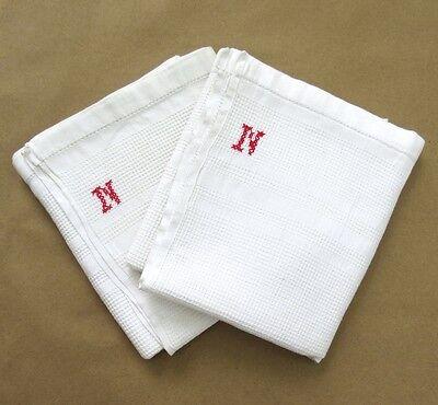 """Pair of Vintage French Dish Towels, Monogrammed """"N"""", Honeycomb, """"Nid d'Abeilles"""""""