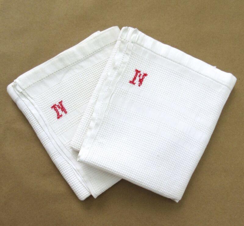 """Pair of Vintage French Dish Towels, Monogrammed """"N"""", Honeycomb, """"Nid d"""