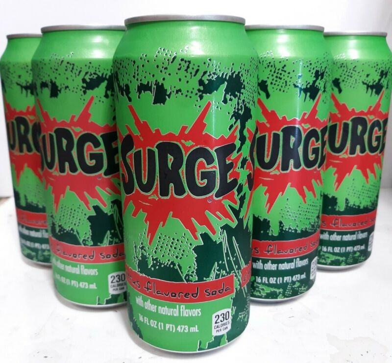 Surge Citrus Flavored Soda 16oz Can (5 Cans)