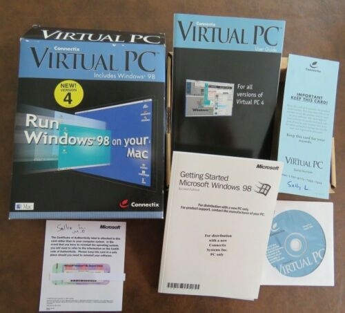 VERSION 4 CONNECTIX VIRTUAL PC WINDOWS 98 ON YOUR MAC COMPLETE IN ORIGINAL BOX