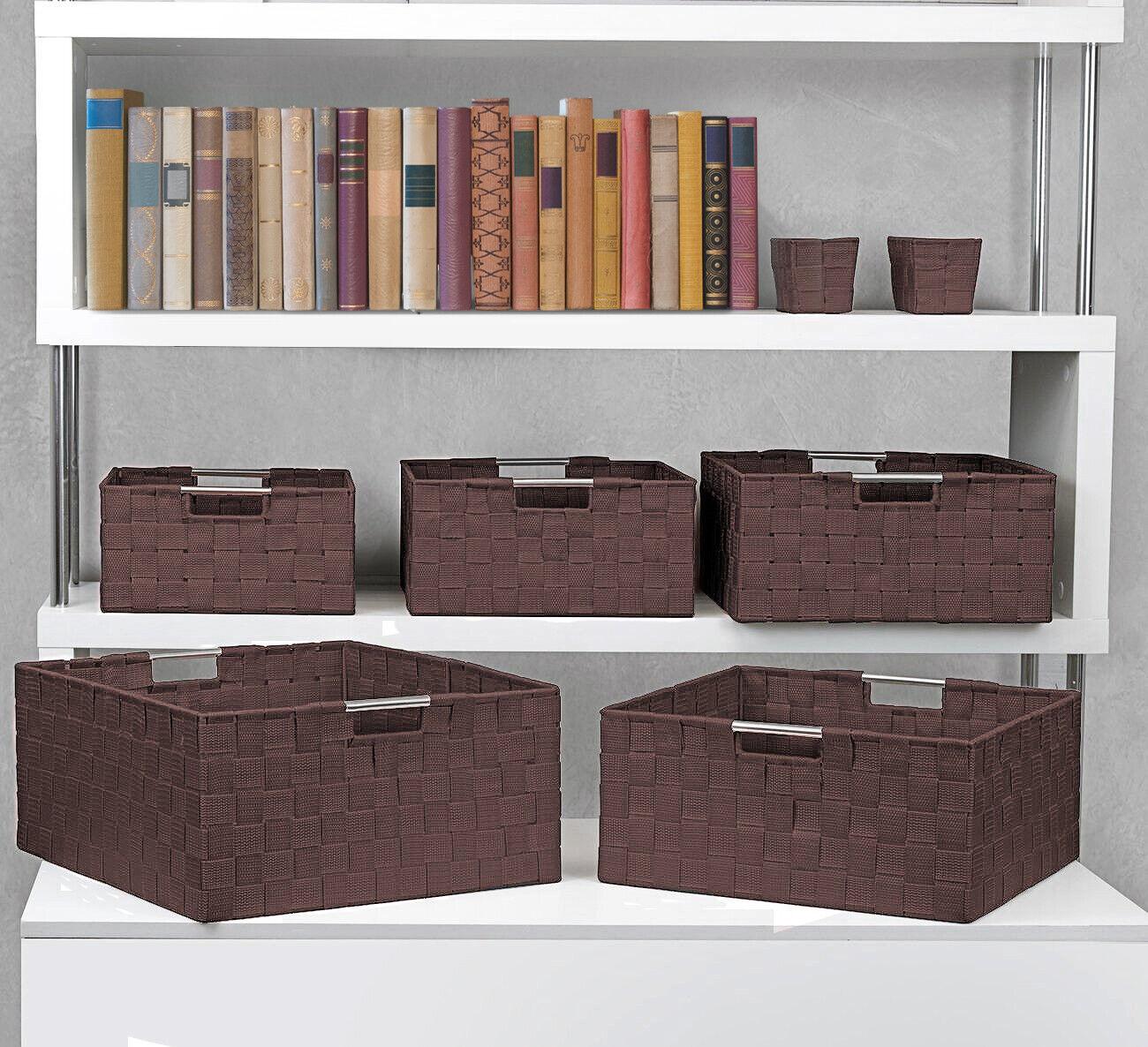 7-Pack Storage Box Set for Closet & Shelves - Woven Fabric Basket Organizer Bins