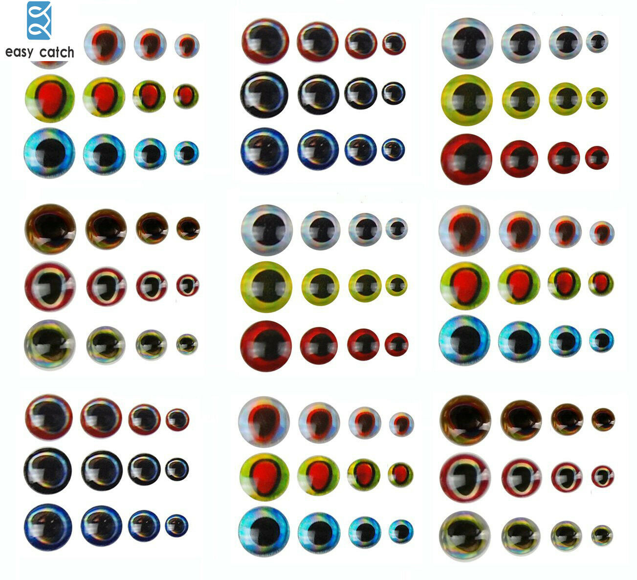 Details about  /500PCS 3-6mm Fish Eyes 3D Holographic Lure Eyes Fly Tying Jigs Crafts Dolls .f/'