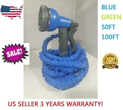 Expandable Flexible Magic Hose 50/100FT Water Pipe Spray Nozzle TV Deluxe garden