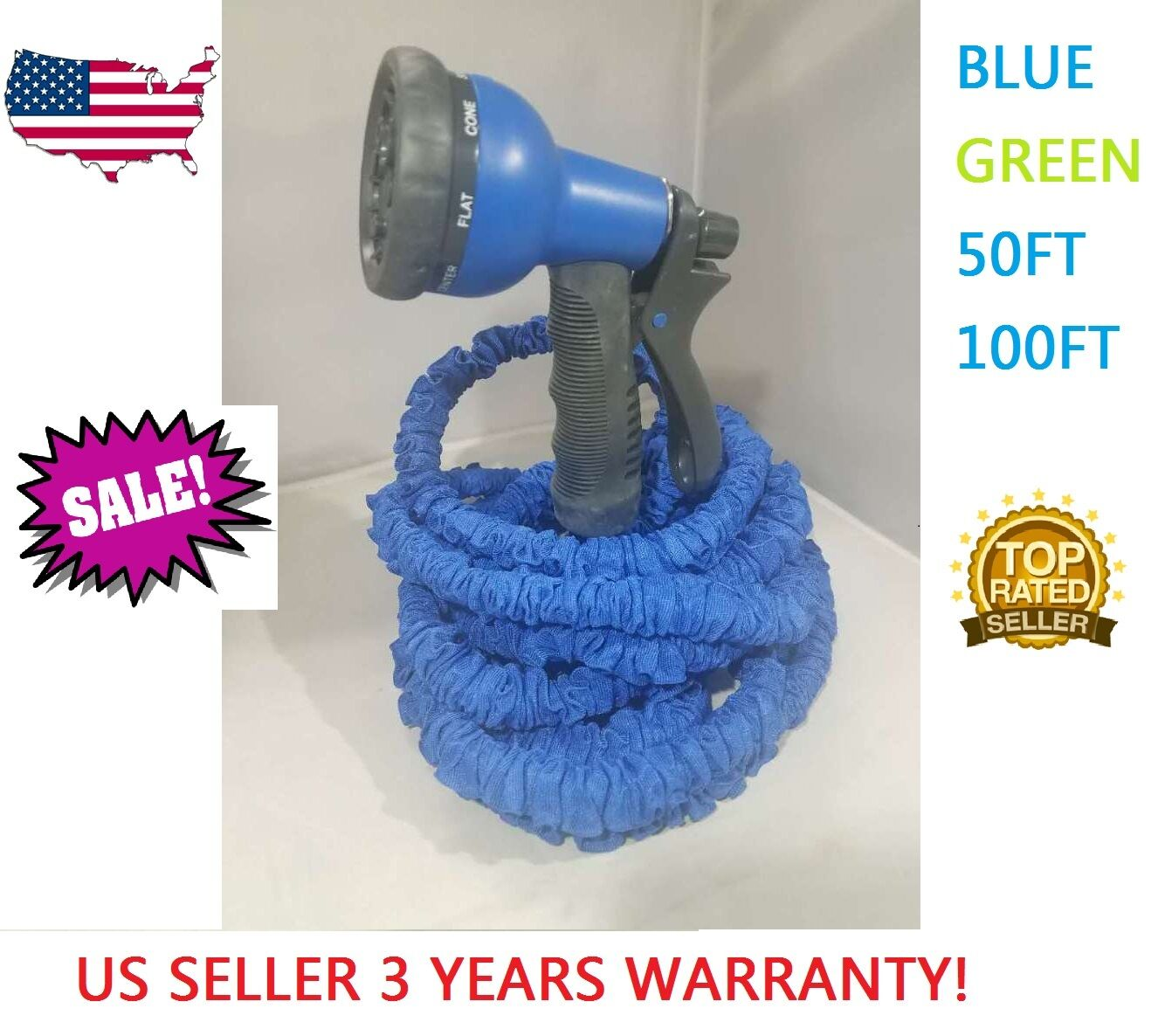 Expandable Flexible Magic Hose 50/100FT Water Pipe Spray Noz