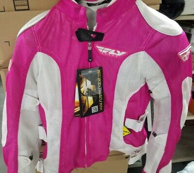 Fly Racing Cool Pro Ladies Mesh Jacket - Pink/White - New With Tags