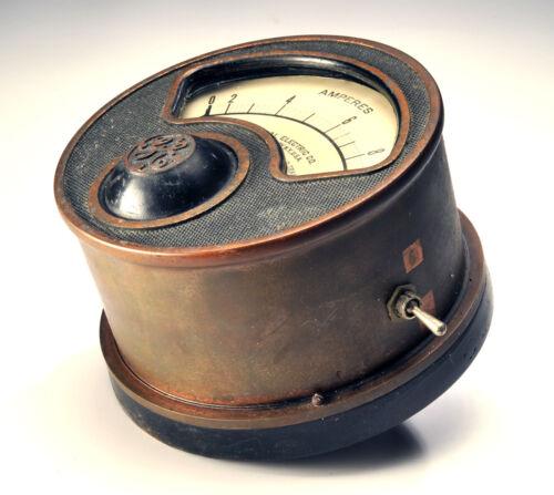 "Antique 7"" General Electric Industrial Ampere Meter Gauge Optional HEAVY Base"