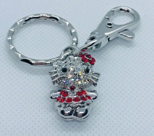 Sanrio Hello Kitty Rhinestones Key Chain Silver Tone