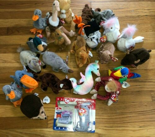 TY Beanie Babies, lot Of 23 Assorted, Goat, Bears, Ducks, Buffalo, Ostrich, +++