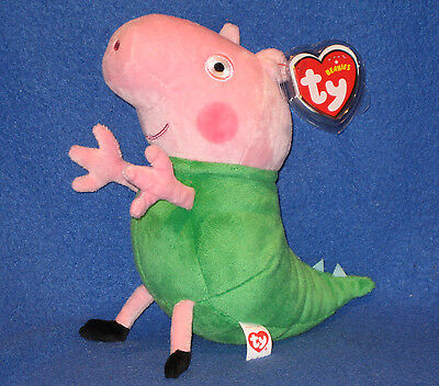 TY GEORGE in DINOSAUR COSTUME BEANIE BABY (UK EXCL - PEPPA PIG) -  MINT TAGS - Ty Costume
