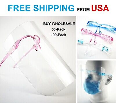 25-50-100 Pack Adult Anti-fog Clear Safety Glasses Face Mask Shield Protection