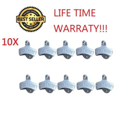 10X Silver BOTTLE OPENER IRON WALL MOUNT BEER COKE SODA BOTTLE OPENERS NEW