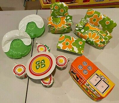 Vintage Barbie Puff & Play inflatable blowup Living Room Kitchen furniture,11 pc