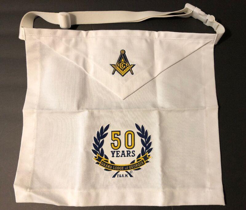 Masonic Apron White Grand Lodge Georgia 50 years 14x15 Adjustable Strap Canvas