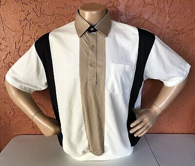 Classics by Palmland Short Sleeve Banded Bottom Shirt Sz XL White Taupe NWT