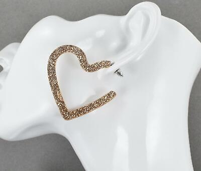 Sparkly Heart (Gold sparkly hoop earrings Heart plastic glitter post hoops acrylic)