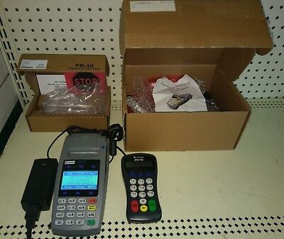 First Data Fd50 Ethernet Dial Terminal W Fd-10 Pin Pad Wpower Adapter Boxed