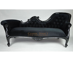 LOUIS XV CHAISE SOFA 3 SEATER BLACK VELVET FRENCH PROVINCIAL, RRP $2299