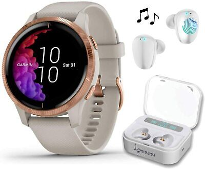 Garmin Venu Light Sand Rose Gold GPS Smartwatch with White EarBuds Bundle