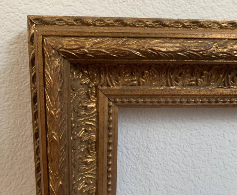 LARGE 19 c. Picture Frame Ornate Gilt Wood & Gesso for Painting Mirror Antique