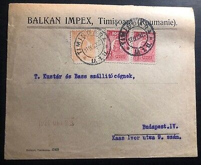 1923 Timisoara Romania Balkan Impex Commercial Cover To Budapest Hungary