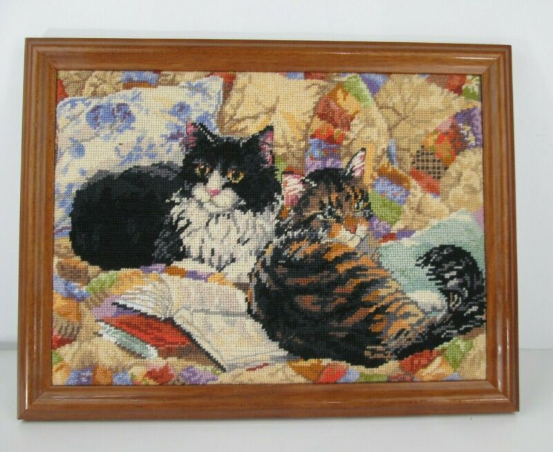 """Vintage Framed Needlepoint 2 Cats on Quilt with Book 18 x 13.5"""" Cat Feline Kitty"""